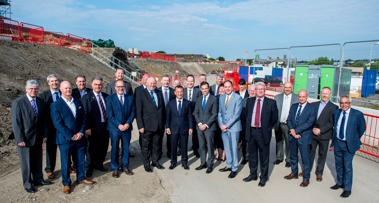 City Deal leaders on the site of the Digital Arena in Swansea, July 2019