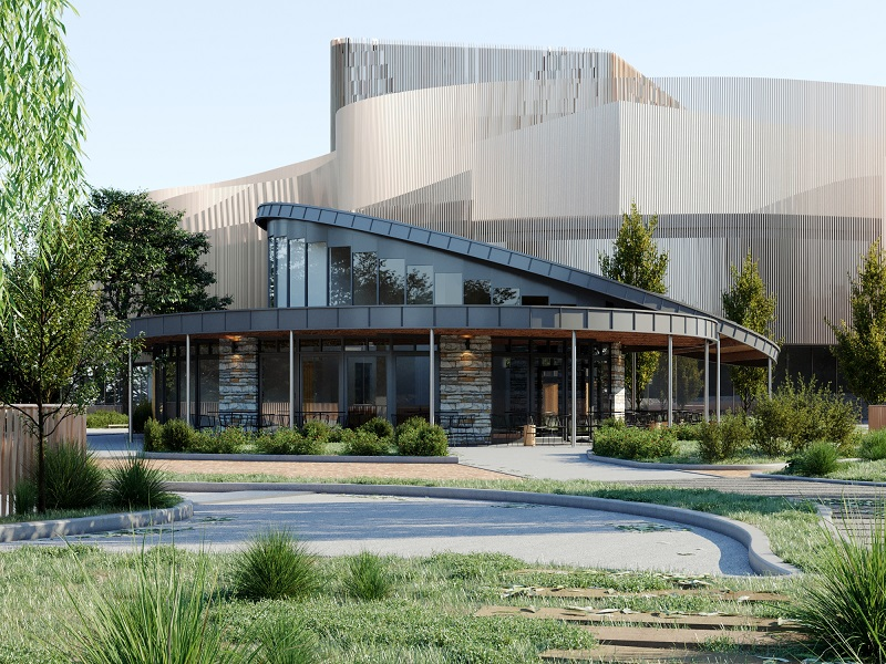 Designs unveiled for pavilion café in city's new arena parkland