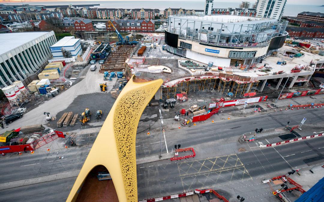 Landmark bridge installed as Swansea's £1bn regeneration progresses